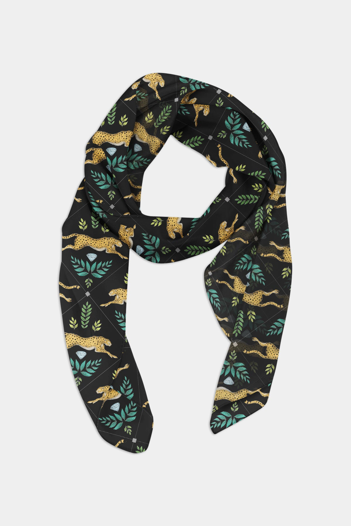 Cheetah Pattern in Midnight Scarf - 100% Silk or Vegan Silk