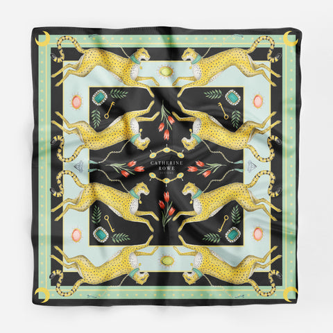 Charm of Cheetahs in Jade Silk Scarf - Available in 2 Sizes - 100% Silk or Vegan Faux Silk - Handmade to Order in London