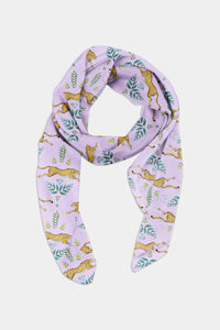 Cheetah Pattern in Lilac Scarf - 100% Silk or Vegan Silk
