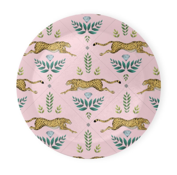 Cheetah Pattern in Petal Pink Coaster Set of 4 - Made to Order in London