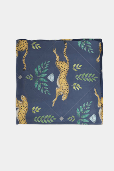 Cheetah Pattern in Navy Blue Scarf - 100% Silk or Vegan Silk