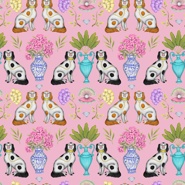 China Dogs Pattern in Miami Pink Wallpaper