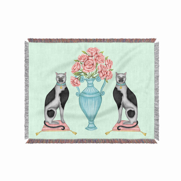 China Cats and Peonies 100% Cotton Woven Blanket Throw