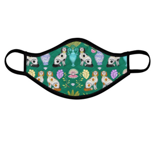 China Dogs Pattern Emerald Face Mask - Handmade to Order