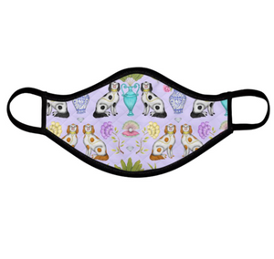 China Dogs Pattern Lilac Face Mask - Handmade to Order