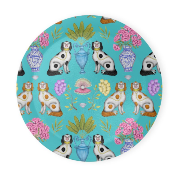 China Dogs Pattern in Tiffany Turquoise Coaster Set of 4 - Made to Order in London