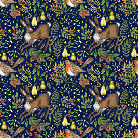 Christmas Garden Pattern in Navy Blue Fabric