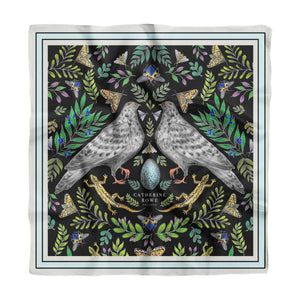 Doves Silk Scarf - Available in 2 Sizes - 100% Silk or Vegan Silk - Handmade to Order in London