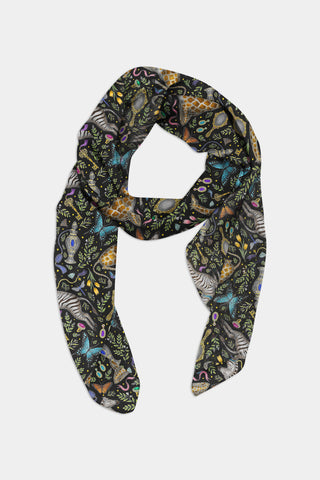 Dressing Table Pattern in Midnight Chiffon Scarf - 100% Silk or Vegan Silk