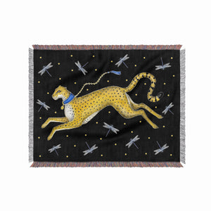 Fari Cheetah and Dragonfly 100% Cotton Woven Blanket Throw