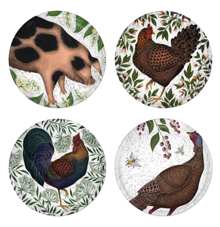 Farm Set - 4 Round Coasters - Old Spots Pig, Hen, Cockerel & Turkey