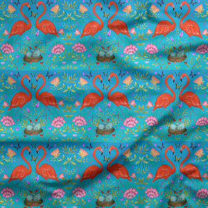 Tropical Flamingos and Flowers Pattern Fabric