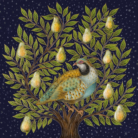 Luxury Foiled Partridge in a Pear Tree Christmas Cards
