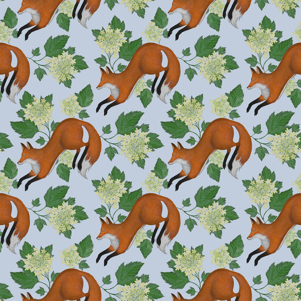 Fox Pattern in Powder Blue Wallpaper