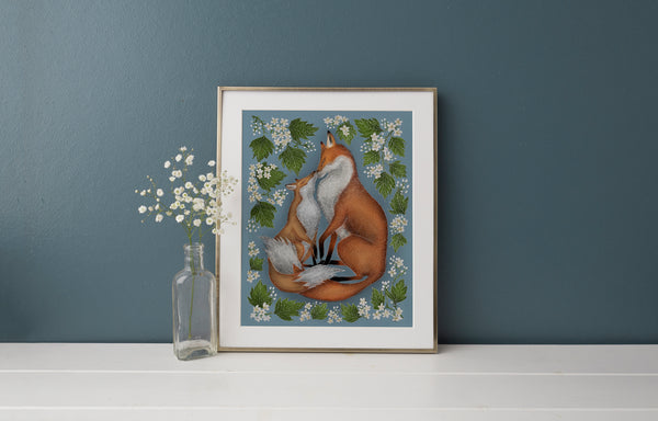 Mother & Baby Foxes Print