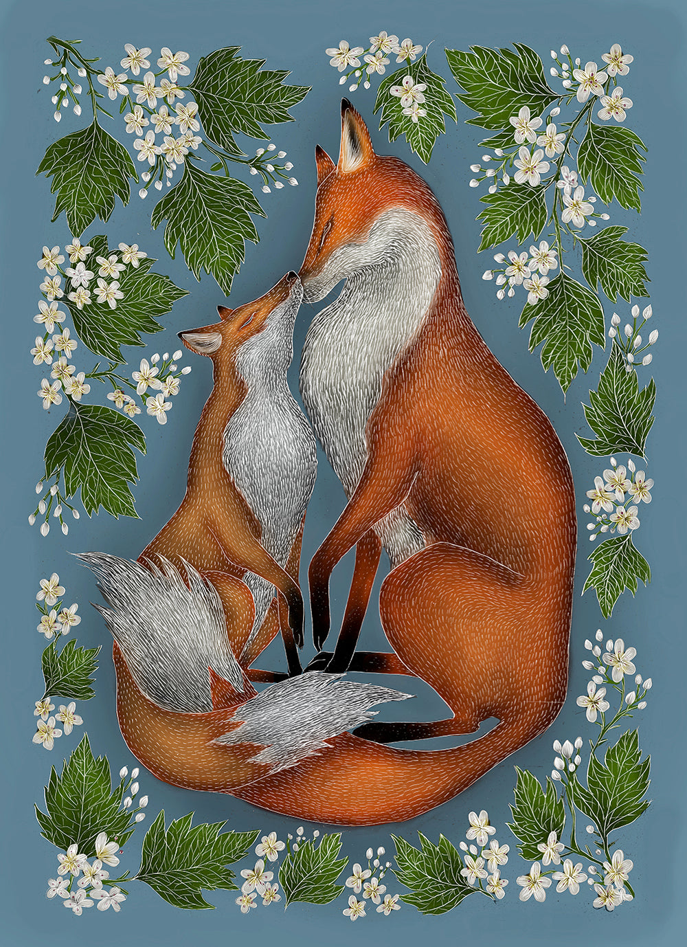 Mother & Baby Foxes Print - Two Colour-ways Available