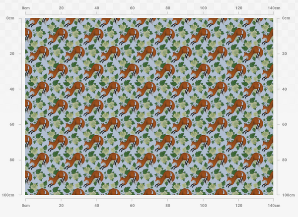 Foxes and Flowers in Blue Pattern Fabric