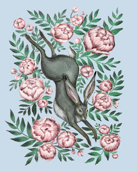 Leaping Hare & Peonies Print