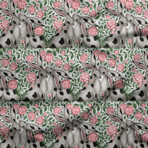 Spotty Hares and Peonies Fabric