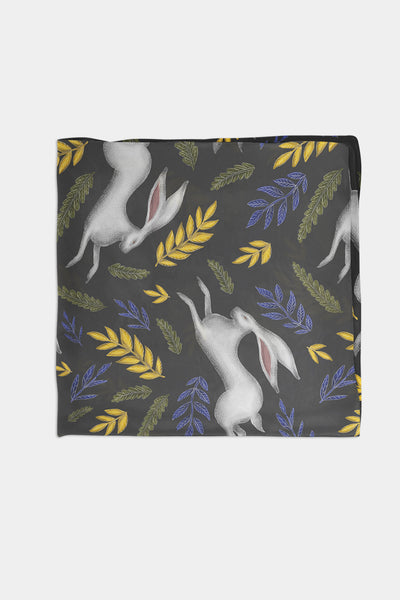 Leaping White Hare Pattern in Midnight Black Chiffon Scarf - 100% Silk or Vegan Silk