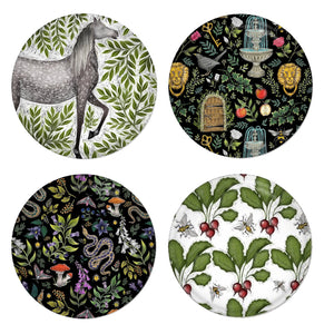 Heritage Set - 4 Round Coasters - Horse, Secret Garden, Poison Garden & Radishes