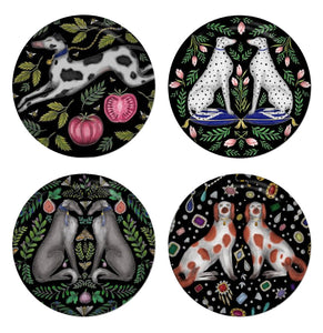 Hounds Set - 4 Round Coasters - Spotty Dog, Dalmatians, Borzois & Spaniels