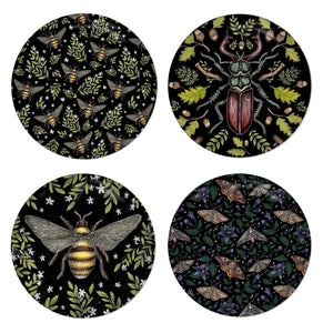Insects Set - 4 Round Coasters - Bee Pattern, Stag Beetle, Honey Bee & Moths