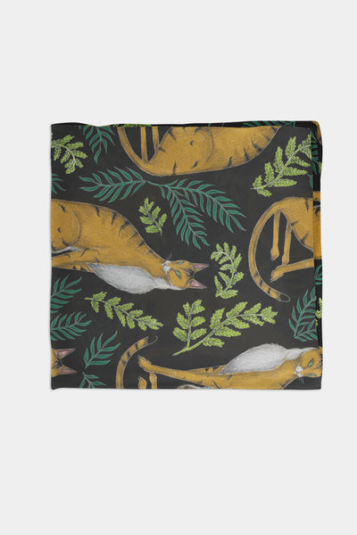 Jungle Cat Pattern Chiffon Scarf - 100% Silk or Vegan Silk