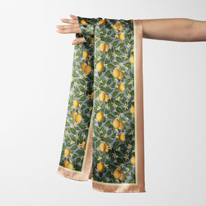 Vegan Silk Oblong Scarf in Lemons Pattern