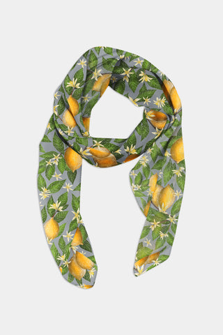 Lemon Grove Pattern Scarf - 100% Silk or Vegan Silk