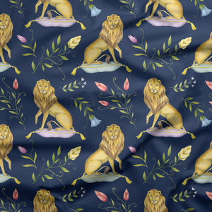 Leo et Flores Pattern in Navy Blue Fabric