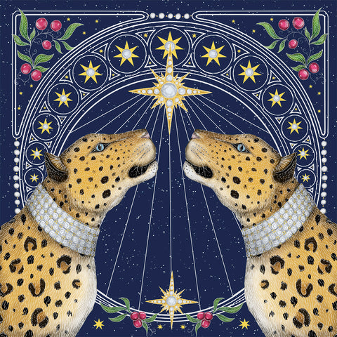 Nouveau Leopards Christmas Cards