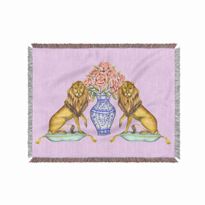 Lions and Peonies 100% Cotton Woven Blanket Throw