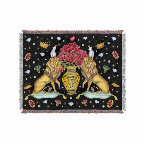Lions, Roses and Jewels 100% Cotton Woven Blanket Throw