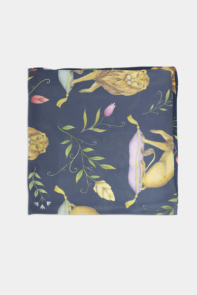 Leo et Flores Pattern in Navy Blue Chiffon Scarf - 100% Silk or Vegan Silk