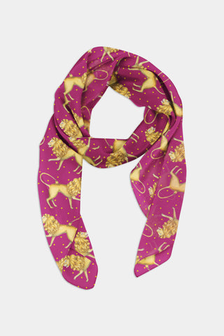 Lions Pattern in Ruby Chiffon Scarf - 100% Silk or Vegan Silk