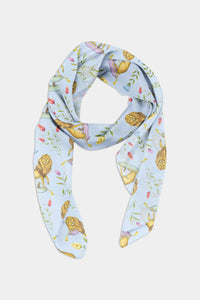 Leo et Flores Pattern in Sky Blue Chiffon Scarf - 100% Silk or Vegan Silk