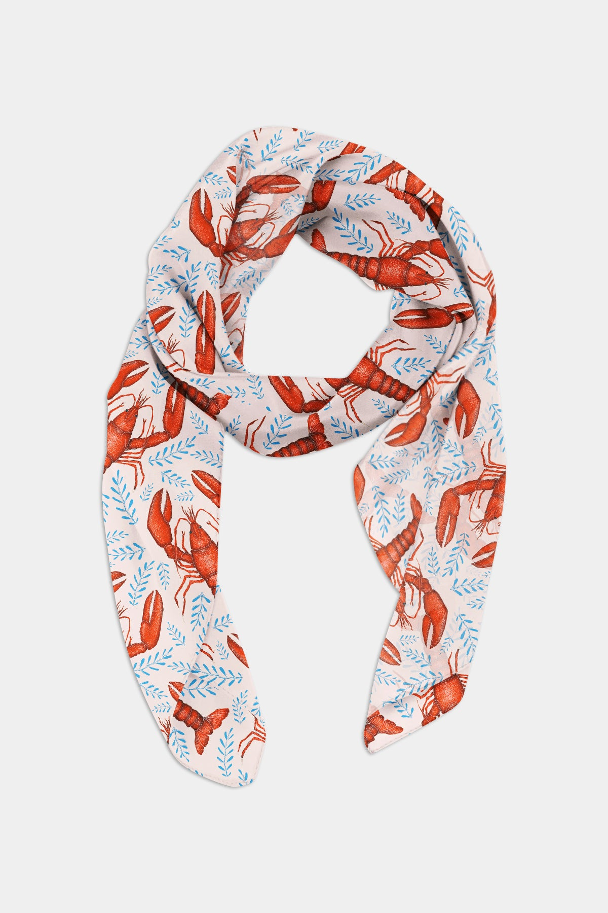 Lobster Pattern in Shell Pink Chiffon Scarf - 100% Silk or Vegan Silk