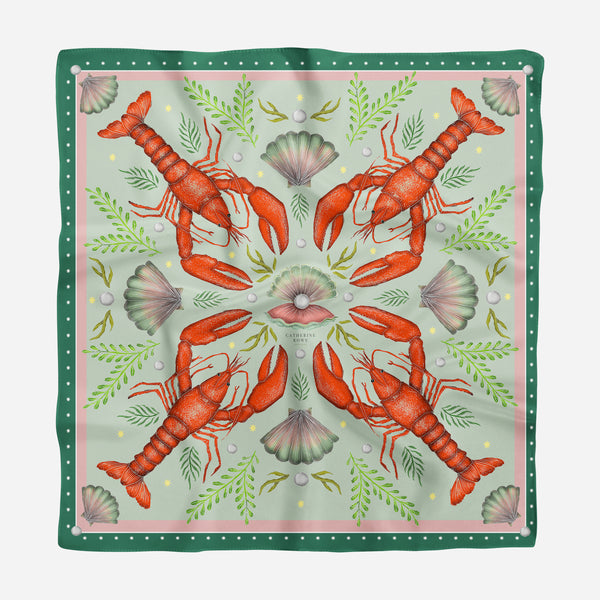 Luxe Lobsters in Sea Moss Silk Scarf - Available in 2 Sizes - 100% Silk or Vegan Faux Silk - Handmade to Order in London