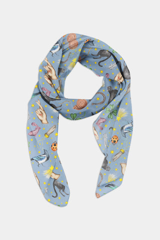 Lucky Pattern Chiffon Scarf - 100% Silk or Vegan Silk