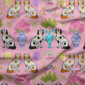 Miami China Dogs Pattern Fabric