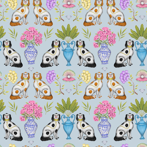 China Dogs Pattern in Soft Grey Wallpaper