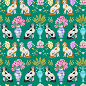 China Dogs Pattern in Emerald Green Wallpaper