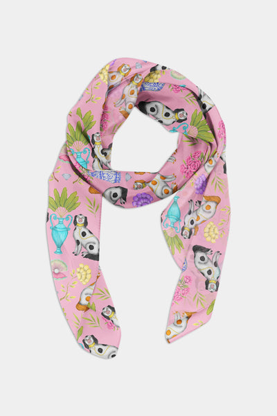 Miami China Dogs Pattern Chiffon Scarf - 100% Silk or Vegan Silk