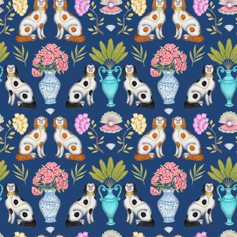 China Dogs Pattern in Midnight Blue Wallpaper
