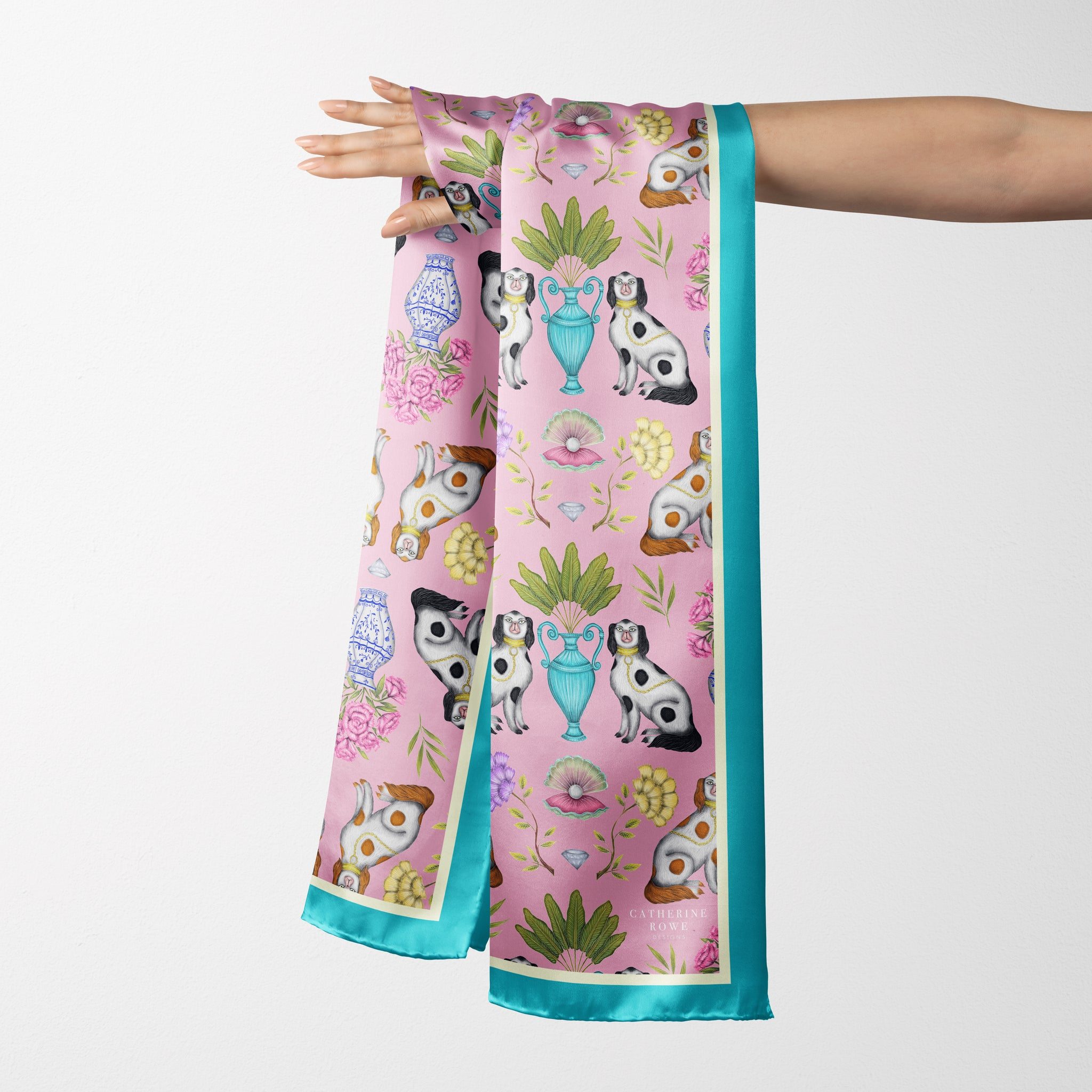 Vegan Silk Oblong Scarf in Miami China Dogs Pattern