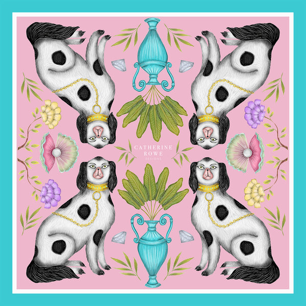 Miami Dogs with Palm in Vase Silk Scarf - Available in 2 Sizes - 100% Silk or Vegan Silk - Handmade to Order in London