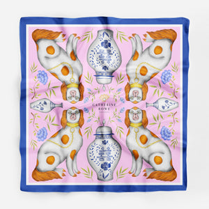 Miami Dogs with Ginger Jar Silk Scarf - Available in 2 Sizes - 100% Silk or Vegan Silk - Handmade to Order in London