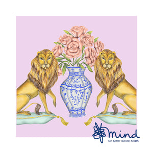 Charity Print - £10 goes to Mind - Lions and Peonies
