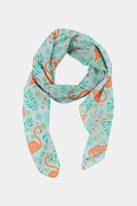 Flamingos Pattern Chiffon Scarf - 100% Silk or Vegan Silk